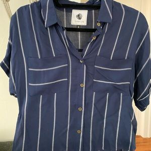 Navy striped blouse from Anthro